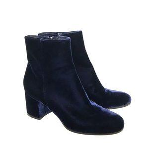 Gianvito Rossi Blue Velvet Ankle Boots